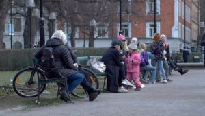 Families are able to enjoy the fresh air in a Stockholm park without any restrictions