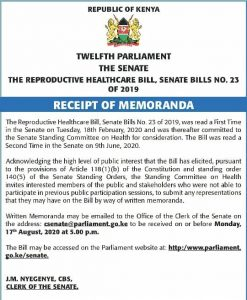 The Kenyan senate has published a call for memoranda on the Reproductive Health Bill.