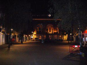 Deserted streets on Sunday evening.