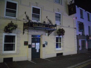 The Golden Lion in Carmarthen. The notice on the door is a Closing Order from the Licensing Authority.